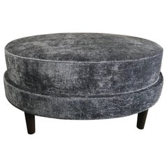 Oval Upholstered Customizable Two-Tiered Ottoman
