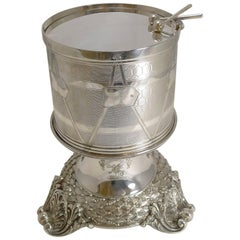 Magnificent and Rare Early Silver Plated Drum Biscuit Box on Stand, 1844
