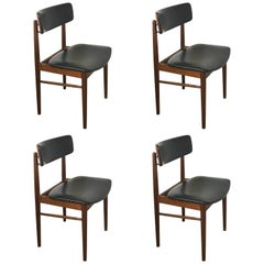 Set of Four Midcentury Teak Dining Chairs in the Style of Arne Vodder, Denmark