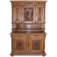 19th Century Italian Renaissance Style Walnut Carved Sideboard
