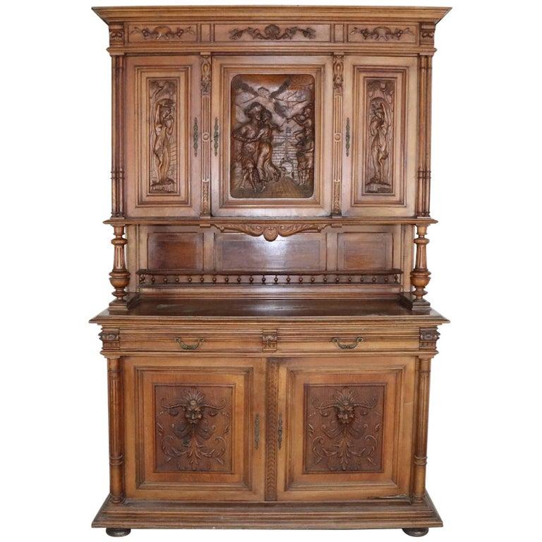 19th Century Italian Renaissance Style Walnut Carved Sideboard
