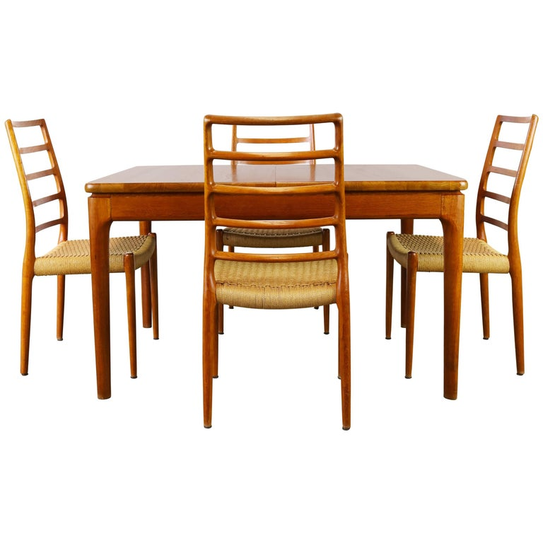 Danish Dining Room Set by Niels Otto Moller Model 82 Chairs and Glostrup Table