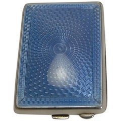 Sterling Silver and Blue Guilloche Enamel Match Book Holder / Striker, 1929