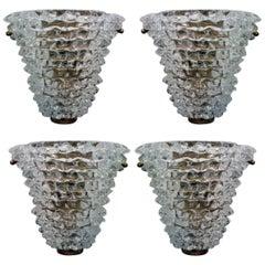 Set of Four Italian Modern Handblown Glass Wall Lights, Barovier & Toso, 1940s
