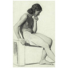 Fine 19th Century Life Drawing of a Pensive Male Nude by Alfred Stevens