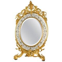 Gilt Bronze Oval Dressing Table Mirror, circa 1850, France