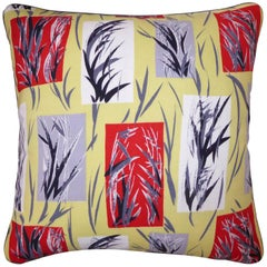 "Vintage Retro Linen and Rayon Cushions, ""Bamboo Leaves"" with Braid Edge"