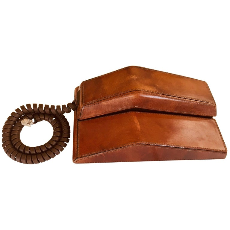 Vintage Brown Leather Covered and Hand-Stitched Telephone by Contempra, 1970s