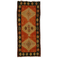Vintage Berber Moroccan Rug Runner with Tribal Style, Wide Hallway Runner