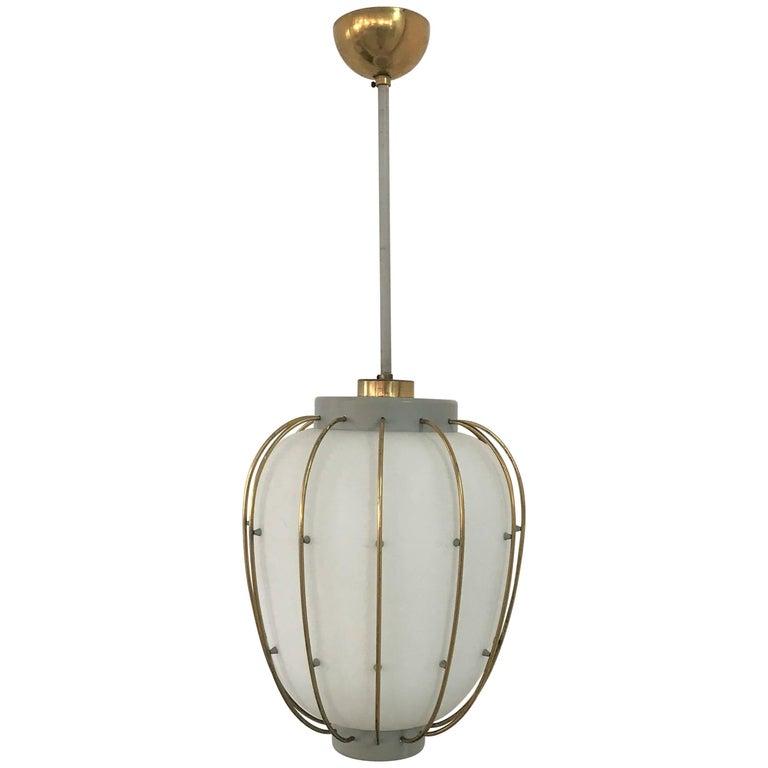 Mid-Century Modern Lantern in Brass and Opaline Glass, Attributed to Stilnovo
