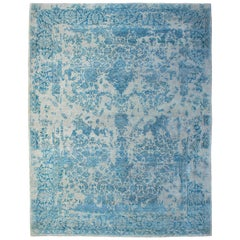 Contemporary Rug Aqua Blue, Handwoven in India with Silk Highlights