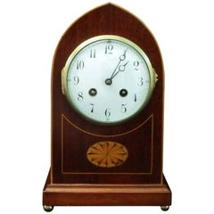 French Belle Époque Mahogany and Inlaid Mantel Clock