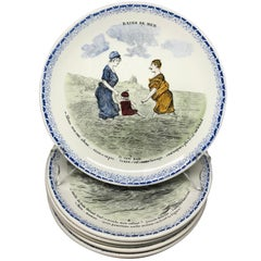 Set of Eight French Creamware Beach Plates