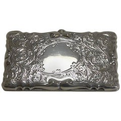 Decorative Edwardian English Sterling Silver Card Case, 1905