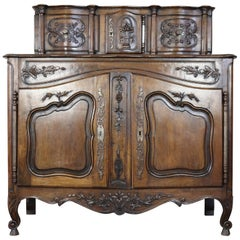 19th Century French Provencal Louis XV Style Walnut Carved Sideboard