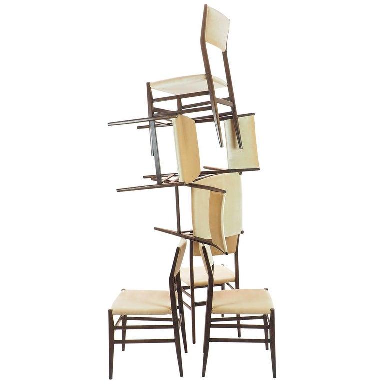 "Gio Ponti Chairs ""Leggera"" by Cassina in Champagne Velvet, Milano, 1952"