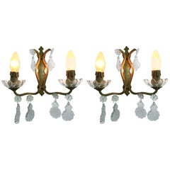 Mid-Century Modern Pair of signed Bronze and Crystal Sconces by Baccarat, France