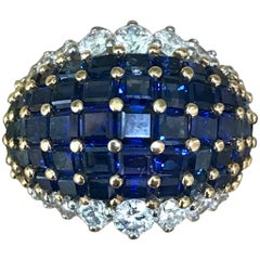 Oscar Heyman American Sapphire and Diamond Ring Mounted in 18-Karat Gold