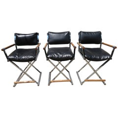 Three Handsome Milo Baughman Style Chrome Directors Chair Bar Stools