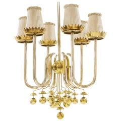 Pietro Chiesa, Italian Ceiling Light in Brass, Rare Model from 1940s