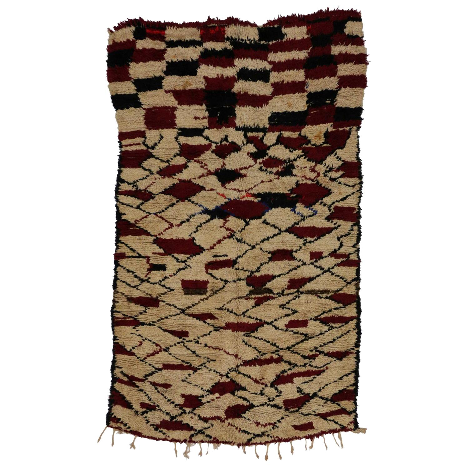 Vintage  Berber Moroccan Rug with Modern Cubism Style