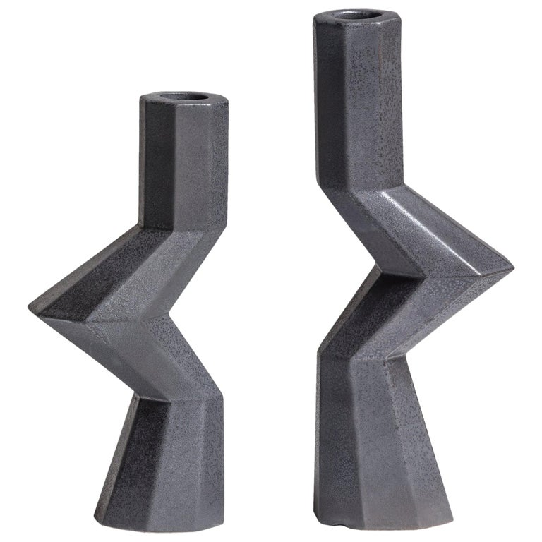 Fortress Militia Candlesticks in Iron Ceramic by Lara Bohinc