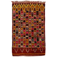Vintage Berber Moroccan Rug with Cubism Style and Abstract Art Design