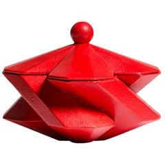 Fortress Treasury Box in Red Ceramic by Lara Bohinc