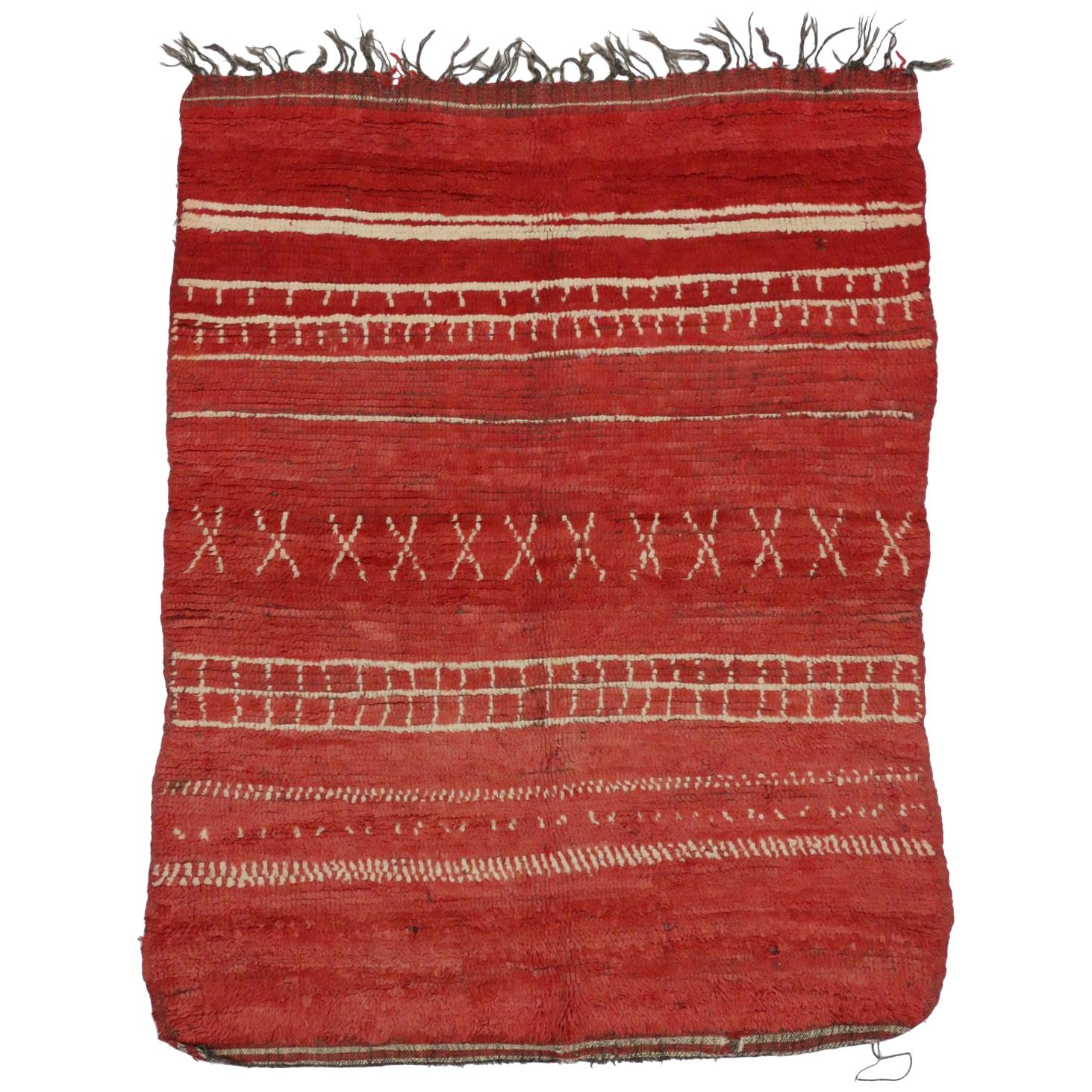 Vintage Red Moroccan Rug with Tribal Style, Berber Moroccan Rug