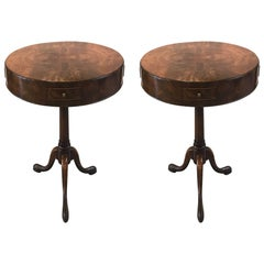 Pair or Round Walnut Peristalsis Side Table