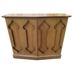 Stylish Slim Harvey Probber Style Midcentury Trefoil Design Console Cabinet