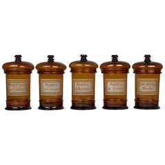 Set of Five 19th Century French Apothecary Jars