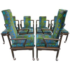 Fabulous Asian Modern Widdicomb Dining Chairs Jack Lenor Larsen Blue Velvet