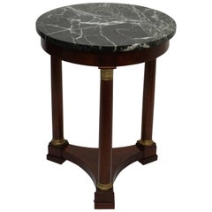Empire Style Mahogany Side Table with Marble Top and Brass Mounts