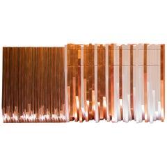 Utopie Konsolentisch handgefertigt in Kupfer Leaf und weiß lackiertem Holz