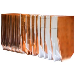 Contemporary Handcrafted Console Table Utopia in Copper Leaf and White Wood