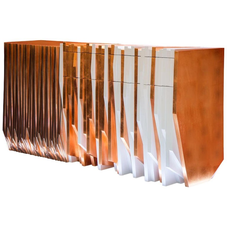 Utopia Console Table Handmade in Copper Leaf and White Lacquered Wood For Sale