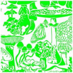 Mushroom City Designer Wallpaper in Color Ectoplasm 'Neon Green on Soft White'