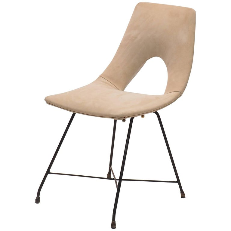 Midcentury Suede Chair  Designed by Augusto Bozzi for Saporiti, Italy, 1950s For Sale