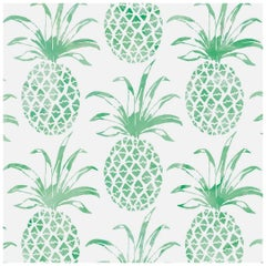 Piña Pintada Pigment Printed Wallpaper in Color Eclectus 'Greens on White'