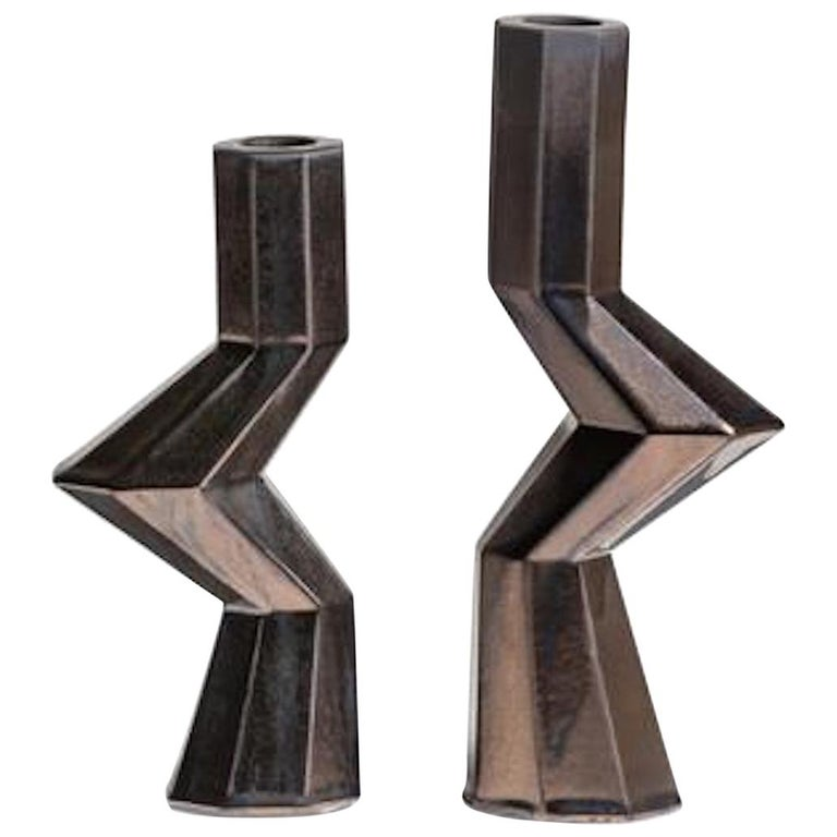 Fortress Militia Candlesticks in Bronze Ceramic by Lara Bohinc
