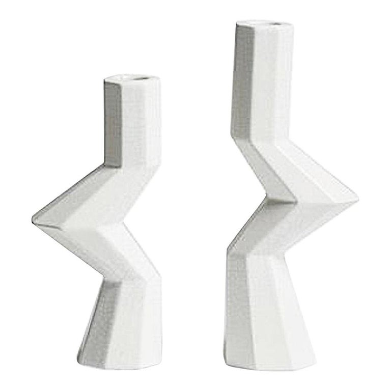 Fortress Militia Candlesticks in White Crackle Ceramic by Lara Bohinc