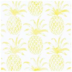 Piña Pintada Pigment Printed Wallpaper in Color Lemongrass 'Yellow on White'