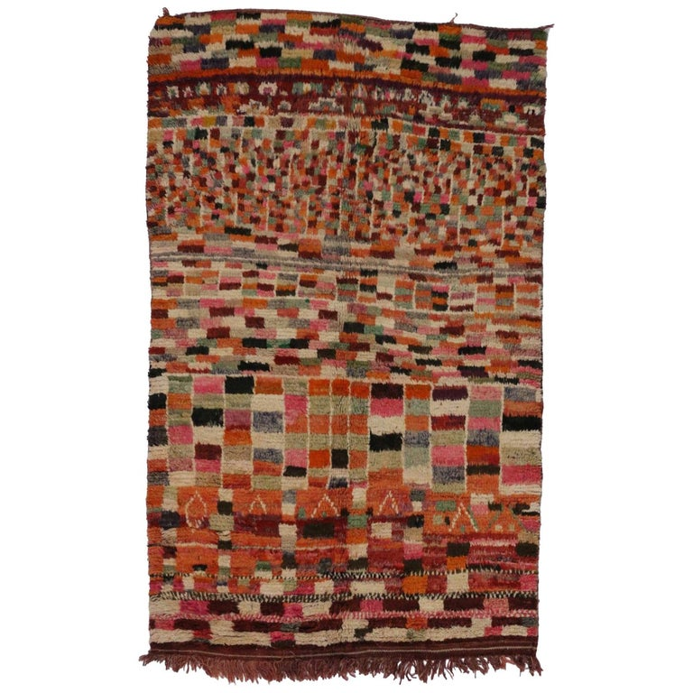 Vintage Berber Moroccan Rug with Modern Abstract Style For Sale
