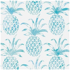 Piña Pintada Pigment Printed Wallpaper in Color Island 'Turquoise on White'