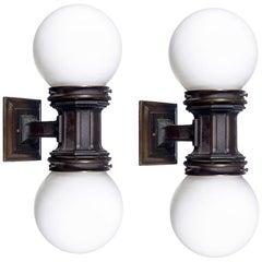Pair of Bronze and Milk Glass Elevator Sconces