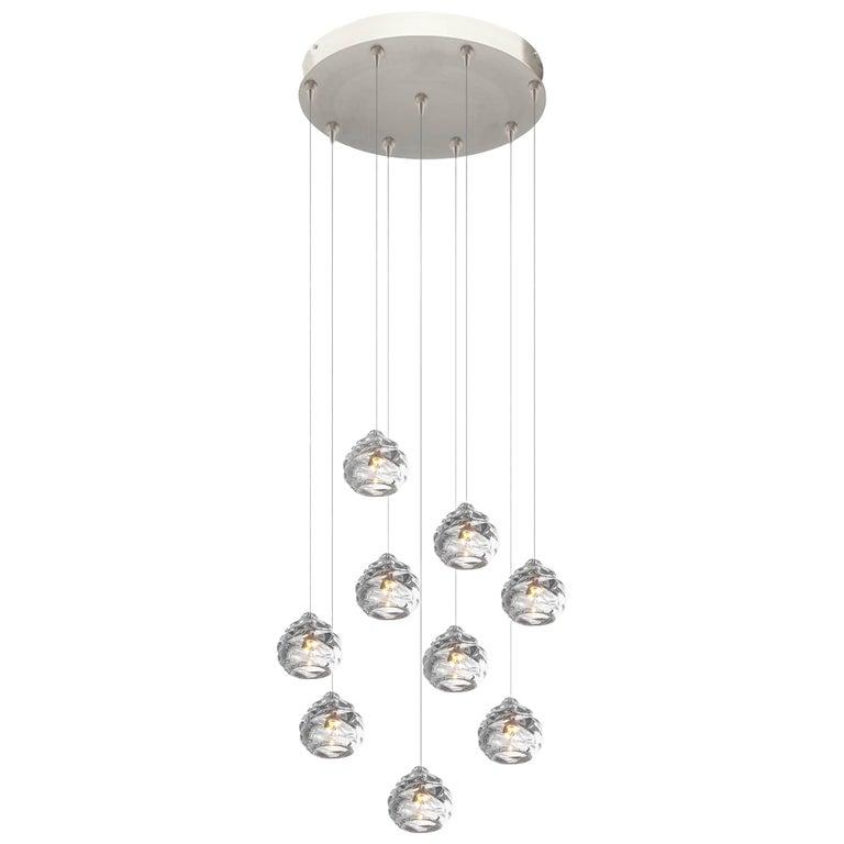 Happy Pendant Chandelier, Nine Handblown Glass Pendants by Siemon & Salazar