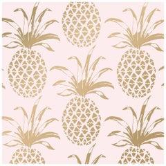 Piña Sola Designer Wallpaper in Color Bijoux 'Metallic Gold on Blush'