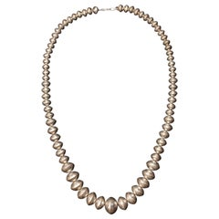 Mid-20th Century Navajo Silver Pearl Necklace