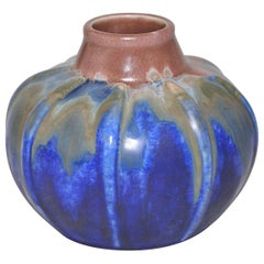 French Art Pottery Metenier Blue Pink Brown Ceramic Vase Pot